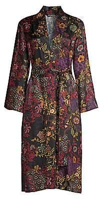 Natori Women's Black Multi Floral Wrap Robe
