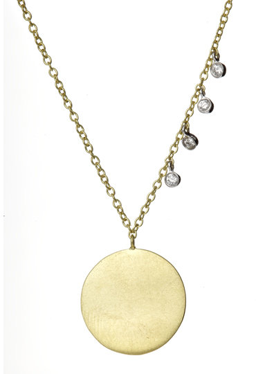 Meira T Gold Disc and Dangling Diamonds Necklace