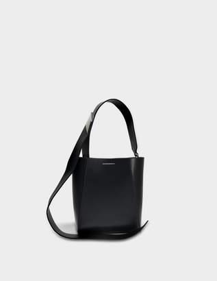 Calvin Klein Small Buckle Bag Stripe Link in Black Calfskin