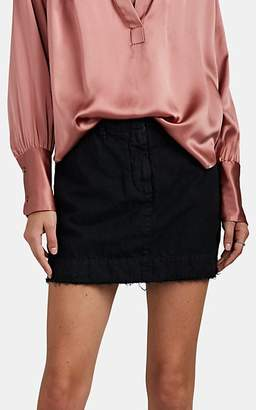 Nili Lotan Women's Apolline Striped Cotton-Linen Miniskirt - Jet Black