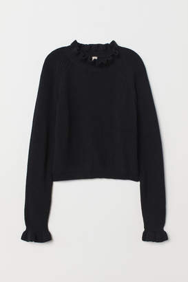 H&M Knit Sweater with Ruffle Trim - Black