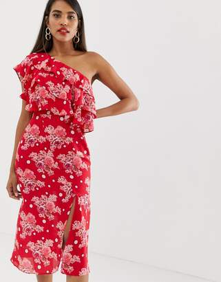 Talulah Florence one shoulder floral midi dress
