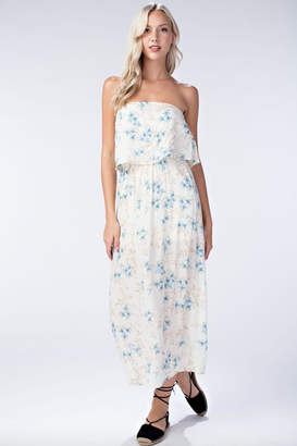 Honey Punch Floral Tube-Top Maxi-Dress