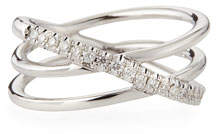 Roberto Coin 18k White Gold Diamond Crisscross Ring