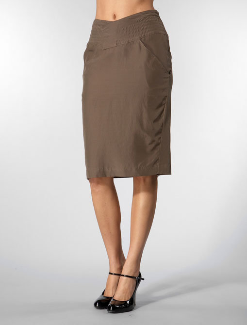 Olga Kapustina Pencil Skirt with Topstitched Belt in Olive