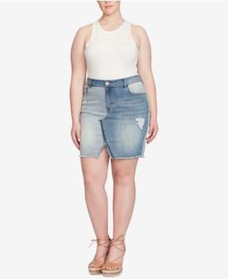 Jessica Simpson Trendy Plus Size Adorn Patched Denim Skirt