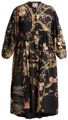 By Walid - Chantal Cherry Blossom Print Silk Dress - Womens - Black Print
