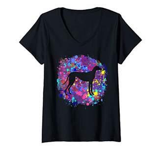 Womens Greyhound Art Splatter Paint Love Greyhounds Unique Gift HER V-Neck T-Shirt