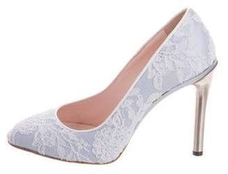 Oscar de la Renta Letizia Satin & Lace Pumps w/ Tags