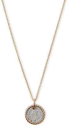David Yurman 18k Rose Gold-Plate Diamond Pave Pendant Necklace
