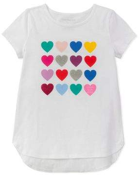 Calvin Klein Jeans Girl's Hearts Grid Cotton Tee
