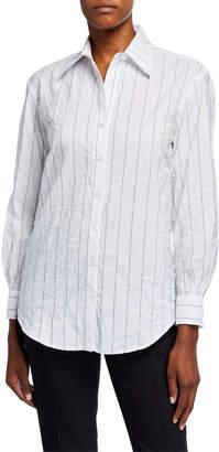Finley Monica Tech Pinstriped Boyfriend Shirt