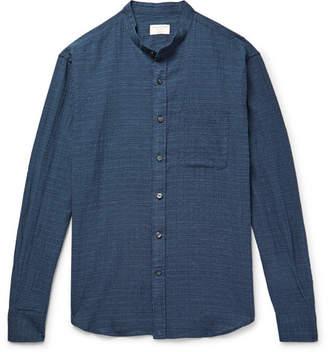 Club Monaco Slim-Fit Grandad-Collar Checked Textured Stretch-Cotton Shirt