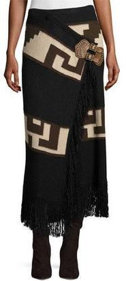 Ralph Lauren Collection Intarsia Blanket Maxi Skirt, Black/Brown $2,290 thestylecure.com