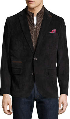 English Laundry Corduroy Quilted Combo Blazer, Black
