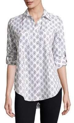 Lord & Taylor Retro Geo Roll-Tab Blouse