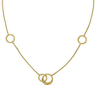 QVC 14K Double Round Link Station Polished Necklace