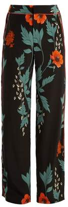 Johanna Ortiz Floral Print High Rise Silk Trousers - Womens - Black Print