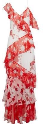 Alice + Olivia Olympia Tiered Floral-Print Chiffon Maxi Dress