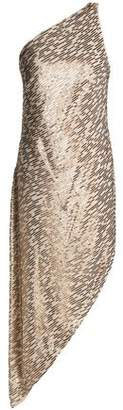 Halston One-Shoulder Sequin-Embellished Crepe De Chine Dress