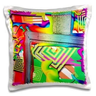 3dRose Frame of a Blue Door Cut out and Swirled with Bright, Cheerful Colors of Pink, Green, Red Liquefied - Pillow Case, 16 by 16-inch