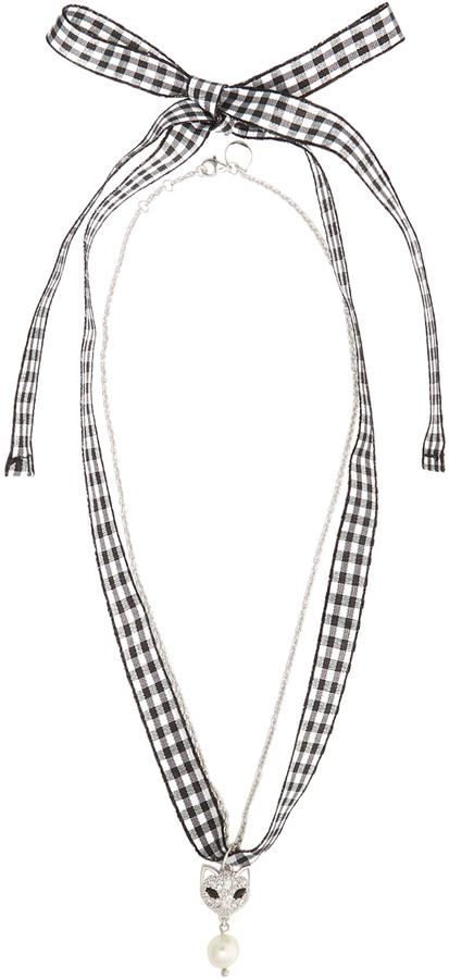 Miu MiuMIU MIU Crystal-cat gingham necklace