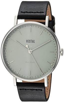 Vestal ' Sophisticate' Swiss Quartz Stainless Steel and Leather Dress Watch