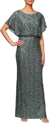 Alex Evenings Sequin Blouson Evening Dress