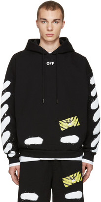 Off-White Black Diagonal Spray Hoodie $545 thestylecure.com