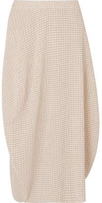 Jil Sander Checked Crepon Midi Skirt - Beige