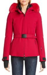 Moncler Bauges Waterproof Down Jacket with Removable Genuine Fox Fur Trim