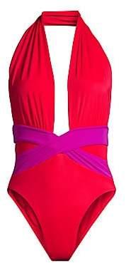 OYE Swimwear Women's Roman Plunge One-Piece Swimsuit
