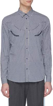 John Undercover Johnundercover Zip edge gingham check shirt