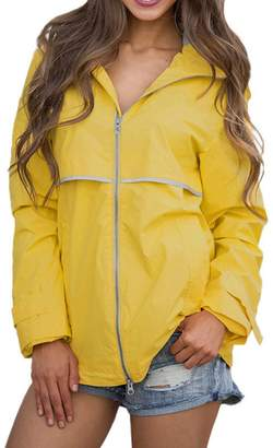 RK-Labels RK Women's Waterproof Lightweight Windbreaker Outdoor Hooded Rain Jacket - Size M