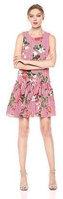 Nicole Miller Studio Women's Drop Waist Shift Dress w/Keyhole