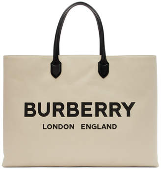 Burberry Off-White Logo Tote