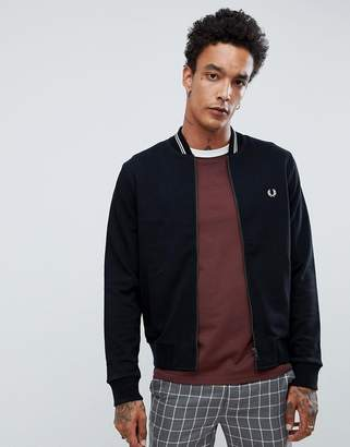 Fred Perry bomber neck zip thru sweat in black