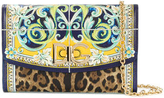 Dolce & Gabbana Majolica and Leopard print wallet on a chain