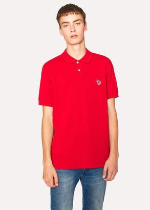 Paul Smith Men's Red Organic Cotton-Pique Zebra Logo Polo Shirt