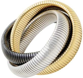 Janis Savitt High Polished Large Yellow Gold, Rhodium and Gunmetal Triple Cobra Bracelet