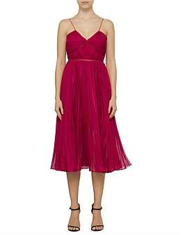 d2d2164378e8 Self-Portrait Fuchsia Pleated Chiffon Midi Dress