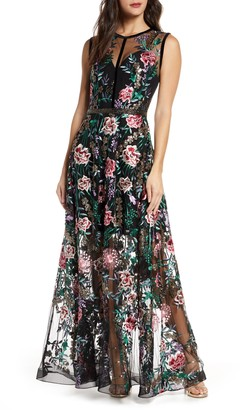 Bronx and Banco Melia Floral Beaded & Embroidered Gown