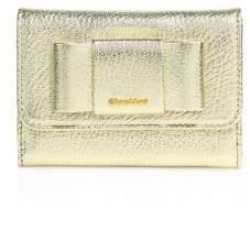 Miu MiuMiu Miu Madras Bow Metallic Leather Flap Wallet