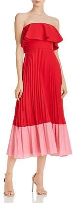 Aidan Mattox Strapless Color-Blocked Dress