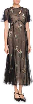 Erdem Kathryn Cape-Sleeve Beaded-Floral Sheer Tulle Dress