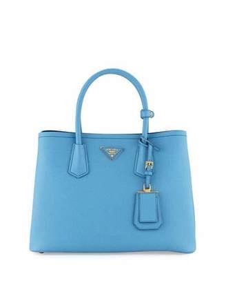 Prada Saffiano Cuir Double Small Tote Bag, Light Blue/Dark Blue (Mare+Bluette)