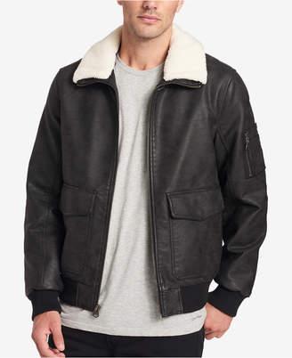 Dockers Men Faux-Leather Aviator Jacket