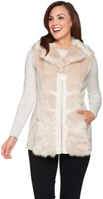 Dennis Basso Platinum Collection Chevron Faux Fur Vest