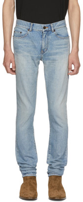 Saint Laurent Blue Worn Low-Rise Skinny Jeans