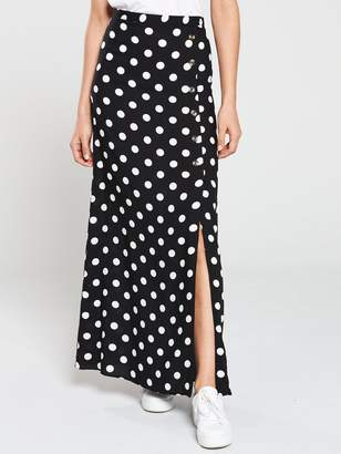 2be1ee0dc0 Very Button Side Spun Viscose Maxi Skirt - Polka Dot